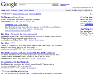 How and why does Google pick these Star Wars sites out of the millions of others?